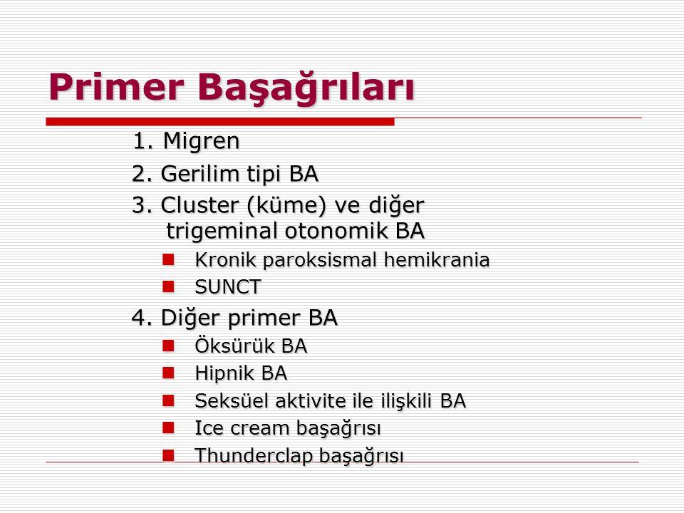 Primer Başağrıları 1. Migren 2. Gerilim tipi BA