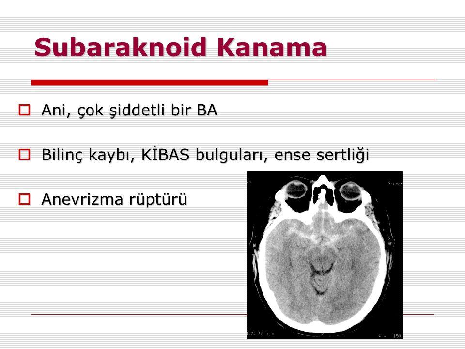 Subaraknoid Kanama Ani, çok şiddetli bir BA