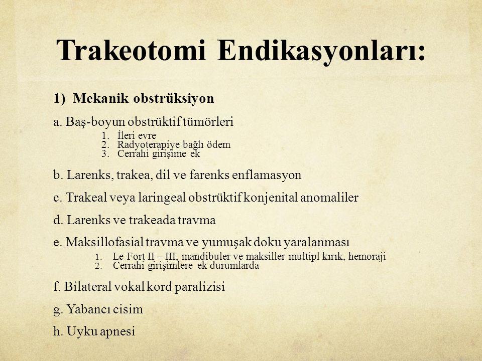 Trakeotomi Endikasyonları: