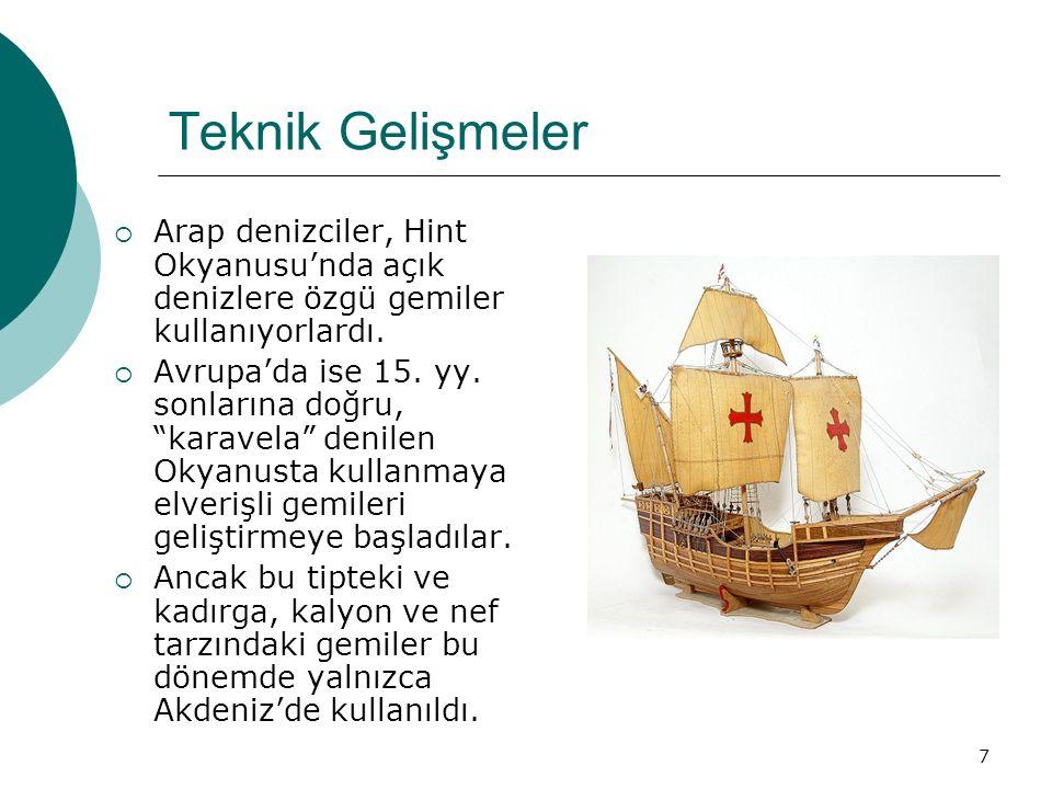 Teknik Gelişmeler Arap denizciler, Hint Okyanusu'nda açık denizlere özgü gemiler kullanıyorlardı.