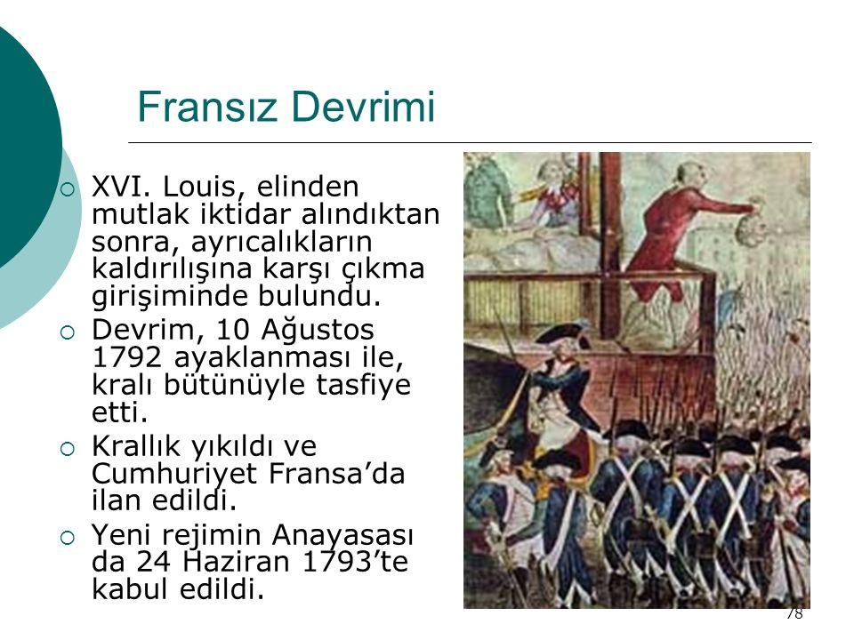 Fransız Devrimi XVI. Louis, elinden mutlak iktidar alındıktan sonra, ayrıcalıkların kaldırılışına karşı çıkma girişiminde bulundu.