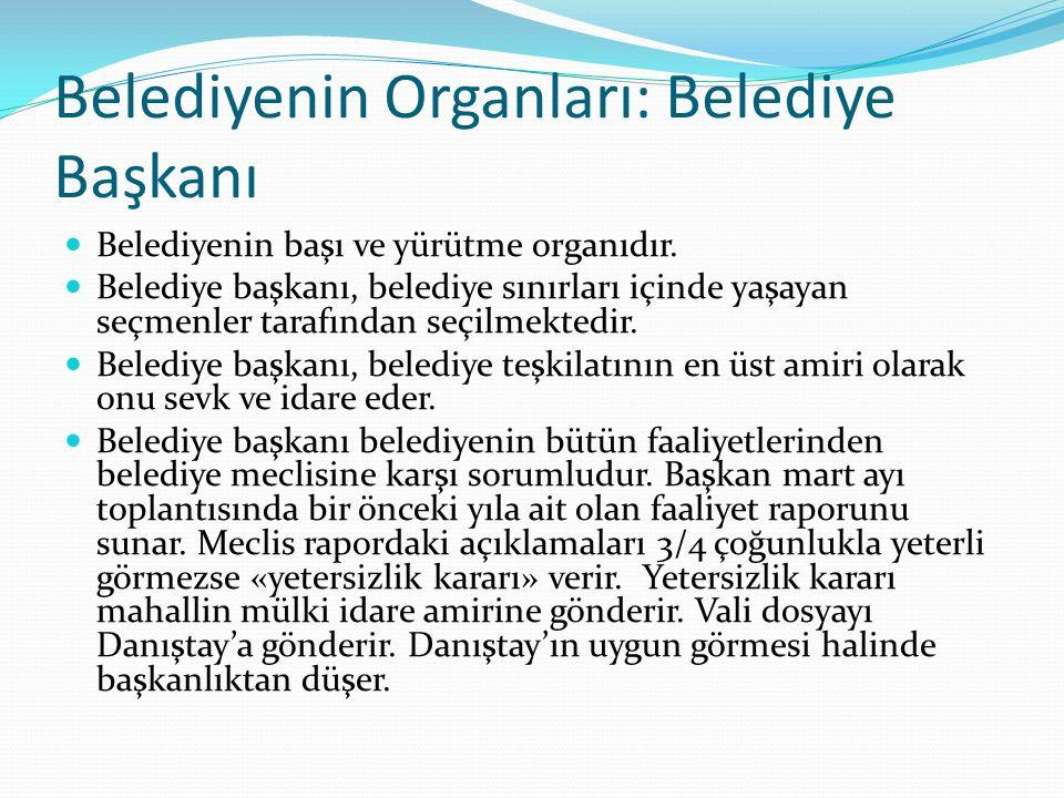 Belediyenin Organları: Belediye Başkanı