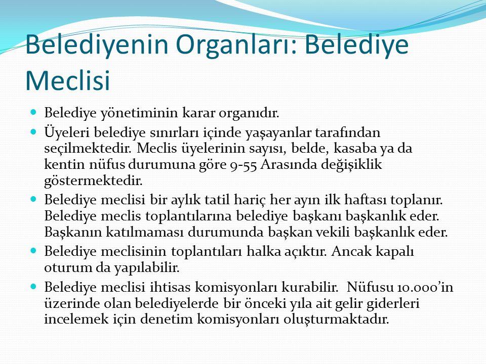 Belediyenin Organları: Belediye Meclisi