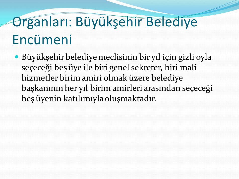 Organları: Büyükşehir Belediye Encümeni