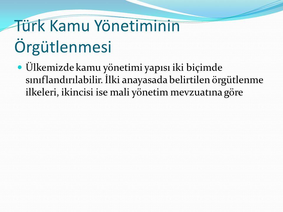 Türk Kamu Yönetiminin Örgütlenmesi