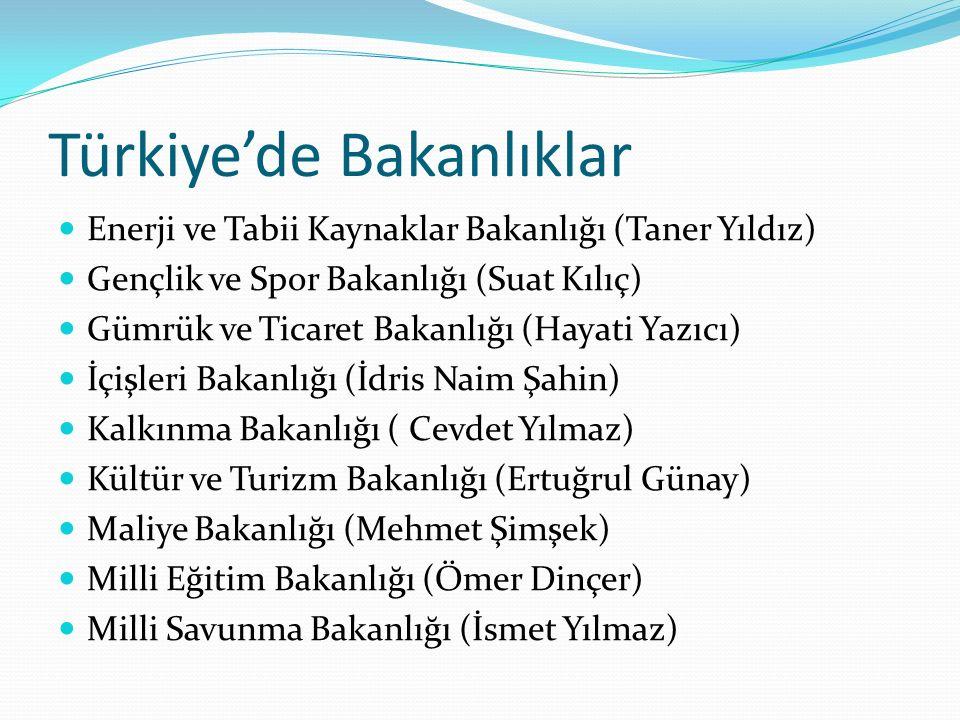 Türkiye'de Bakanlıklar