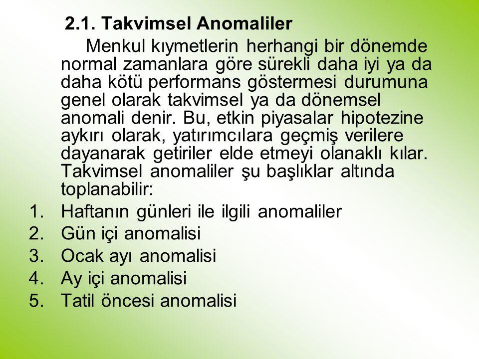 2.1. Takvimsel Anomaliler