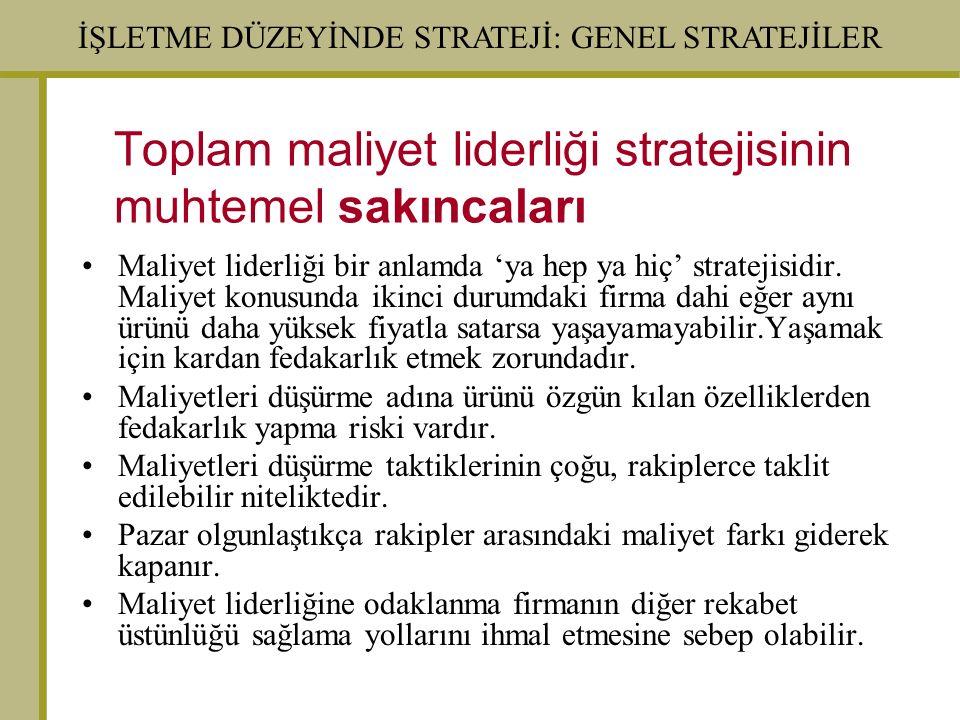 Toplam maliyet liderliği stratejisinin muhtemel sakıncaları