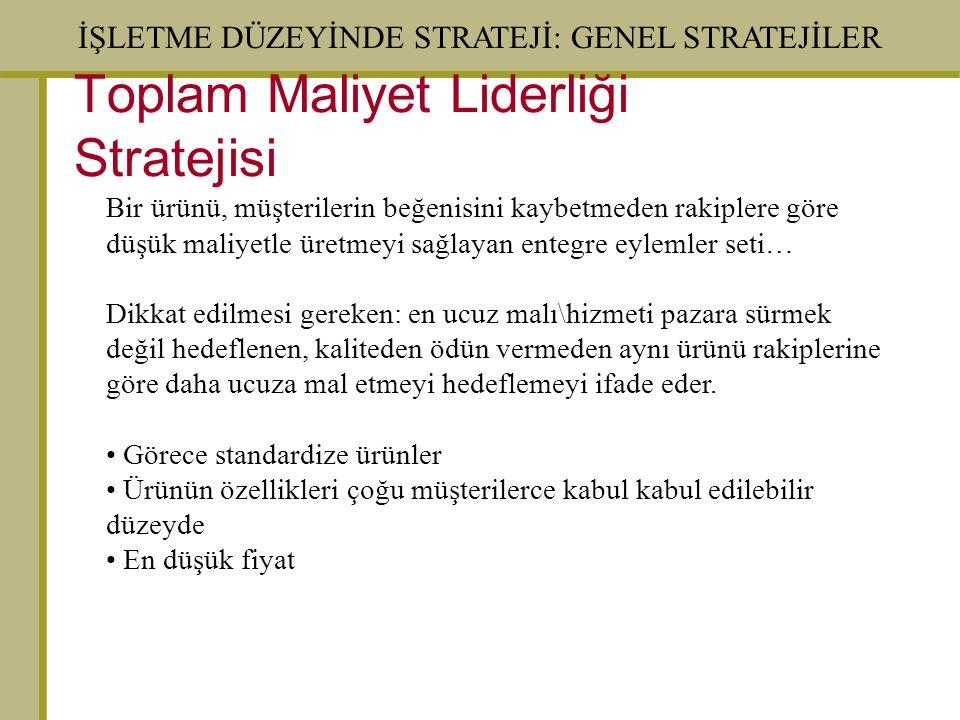Toplam Maliyet Liderliği Stratejisi