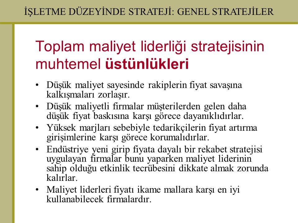 Toplam maliyet liderliği stratejisinin muhtemel üstünlükleri