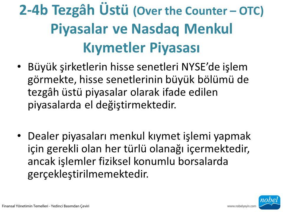 2-4b Tezgâh Üstü (Over the Counter – OTC) Piyasalar ve Nasdaq Menkul Kıymetler Piyasası