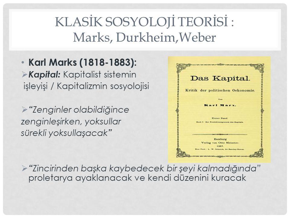 KLASİK SOSYOLOJİ TEORİSİ : Marks, Durkheim,Weber