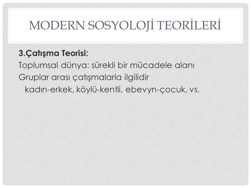MODERN SOSYOLOJİ TEORİLERİ