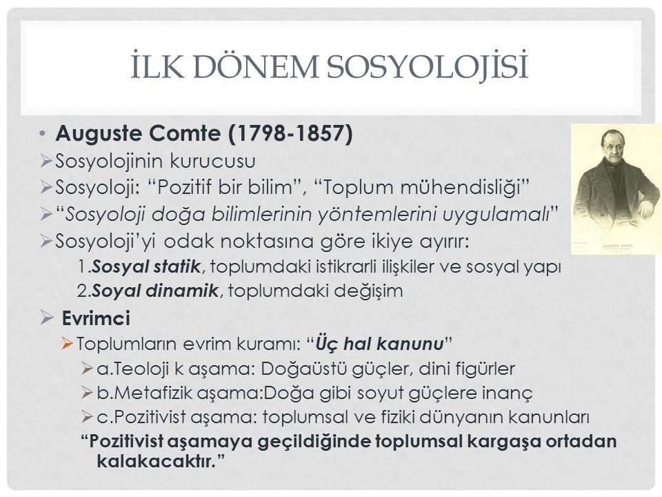 İLK DÖNEM SOSYOLOJİSİ Auguste Comte (1798-1857) Evrimci