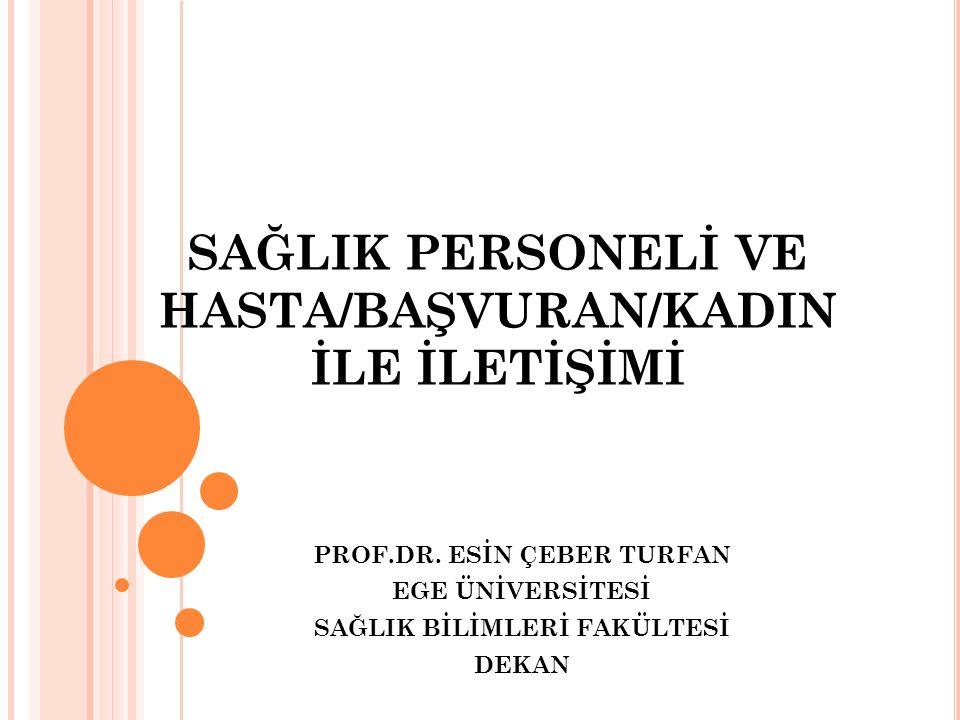 SAĞLIK PERSONELİ VE HASTA/BAŞVURAN/KADIN İLE İLETİŞİMİ