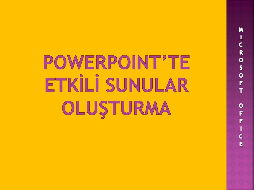 POWERPOINT'TE ETKİLİ SUNULAR OLUŞTURMA