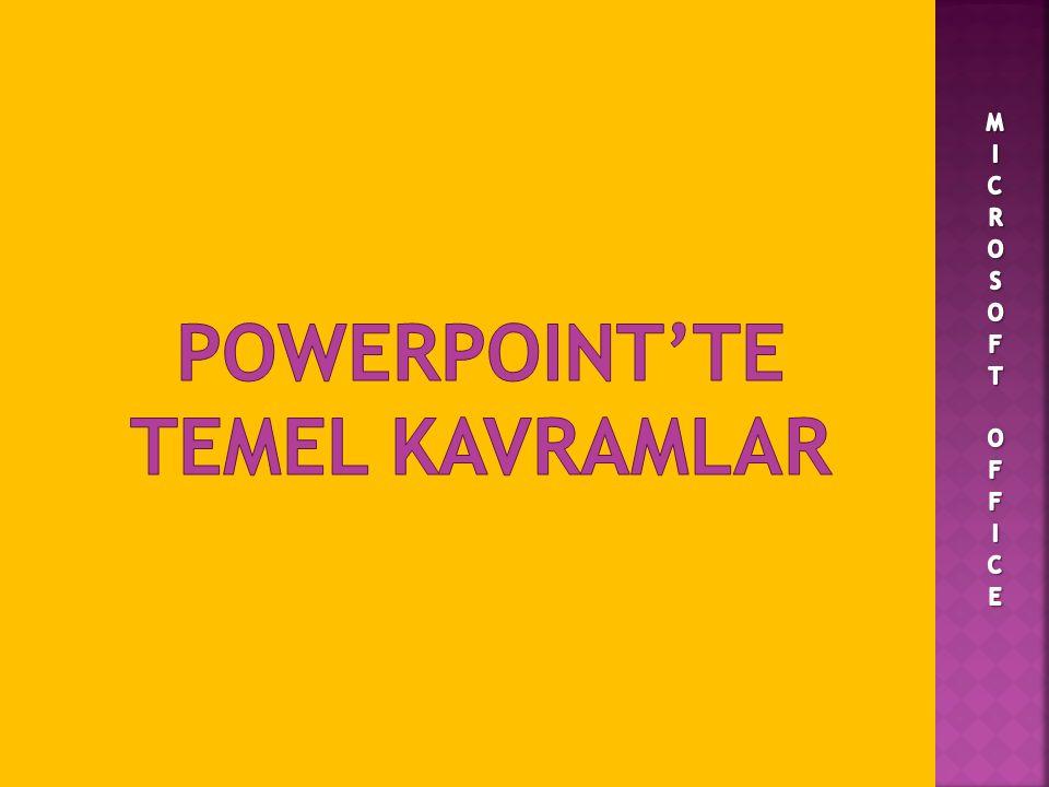 POWERPOINT'TE TEMEL KAVRAMLAR