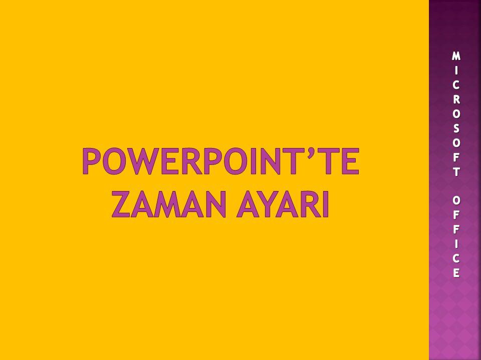 POWERPOINT'TE ZAMAN AYARI