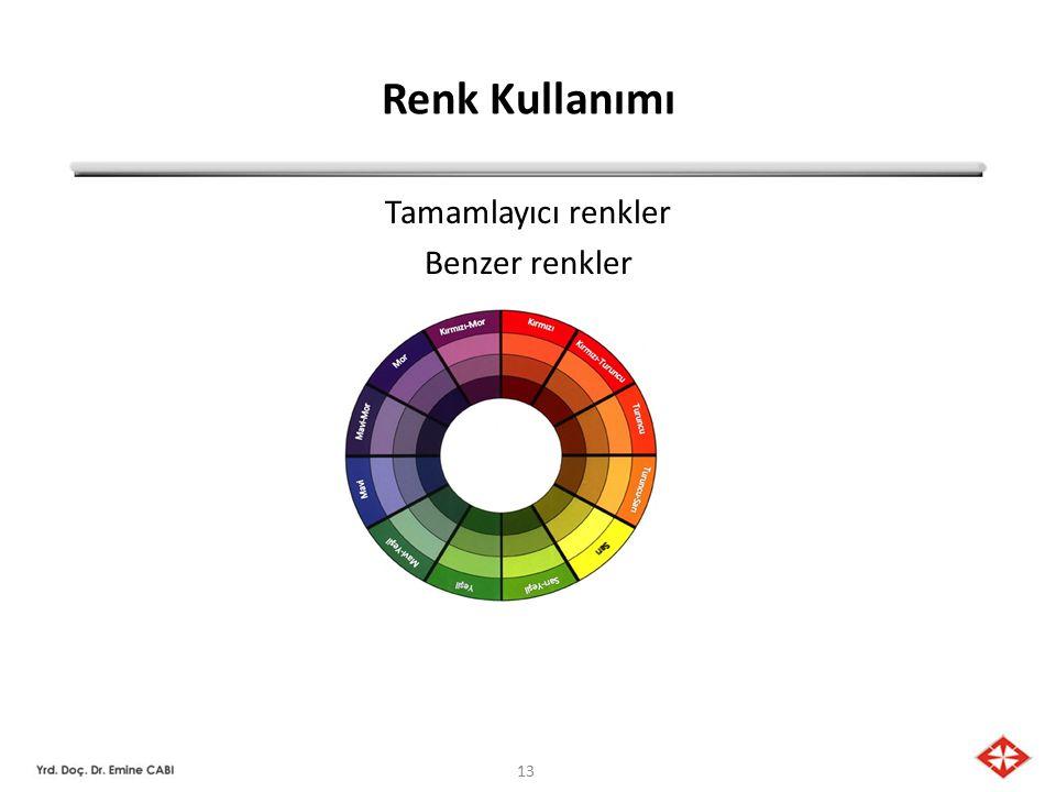 Tamamlayıcı renkler Benzer renkler