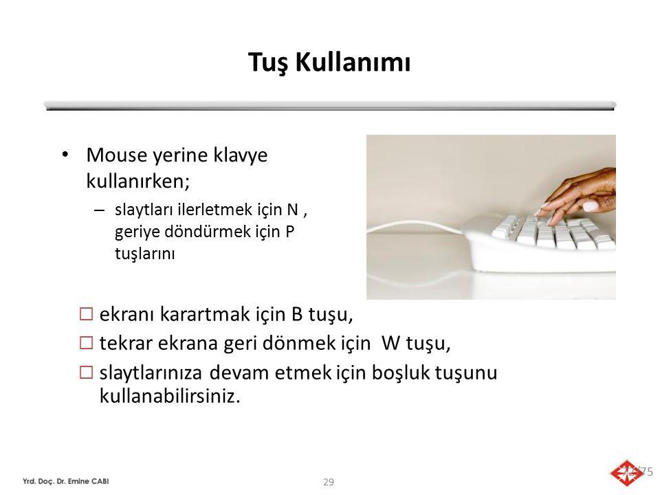 Tuş Kullanımı Mouse yerine klavye kullanırken;