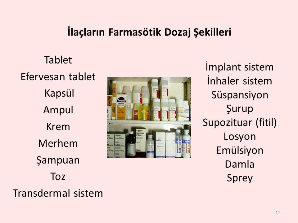 İlaçların Farmasötik Dozaj Şekilleri