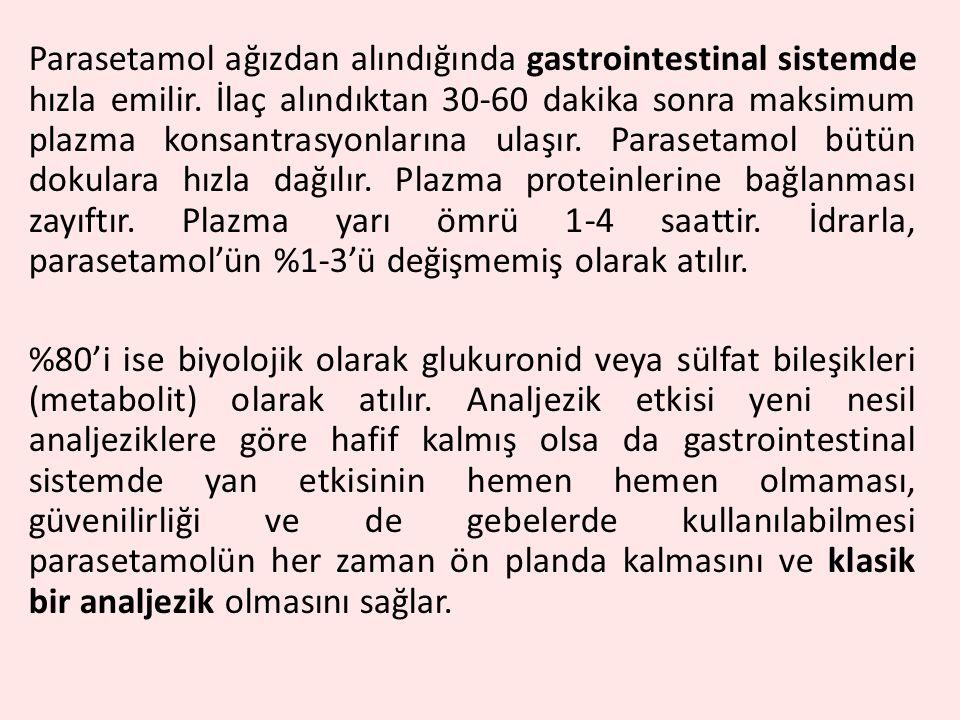 Parasetamol ağızdan alındığında gastrointestinal sistemde hızla emilir