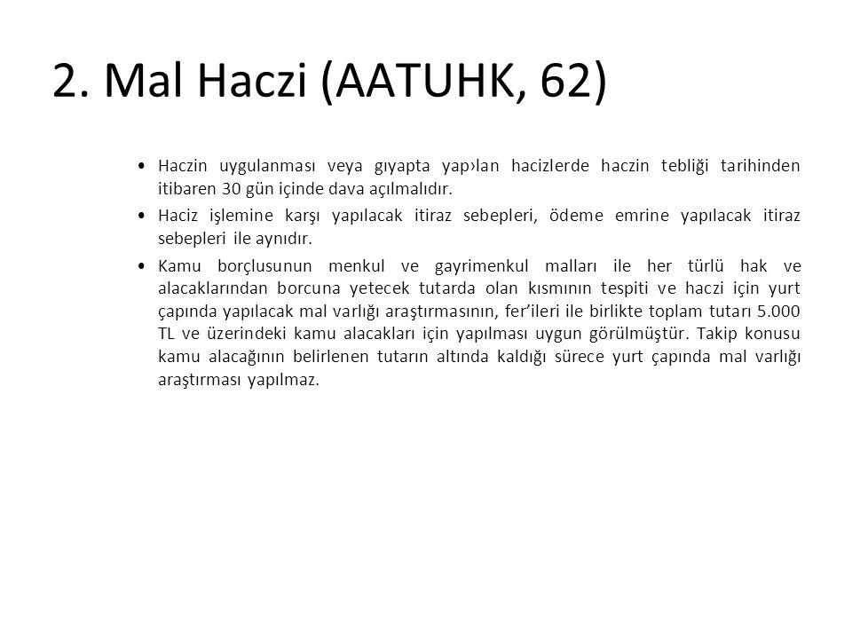 2. Mal Haczi (AATUHK, 62) Haczin uygulanması veya gıyapta yap›lan hacizlerde haczin tebliği tarihinden itibaren 30 gün içinde dava açılmalıdır.