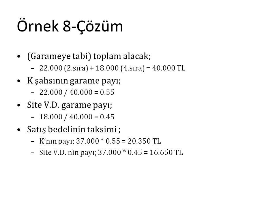Örnek 8-Çözüm (Garameye tabi) toplam alacak; K şahsının garame payı;