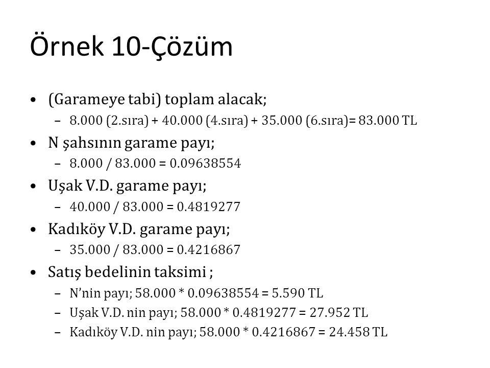 Örnek 10-Çözüm (Garameye tabi) toplam alacak; N şahsının garame payı;