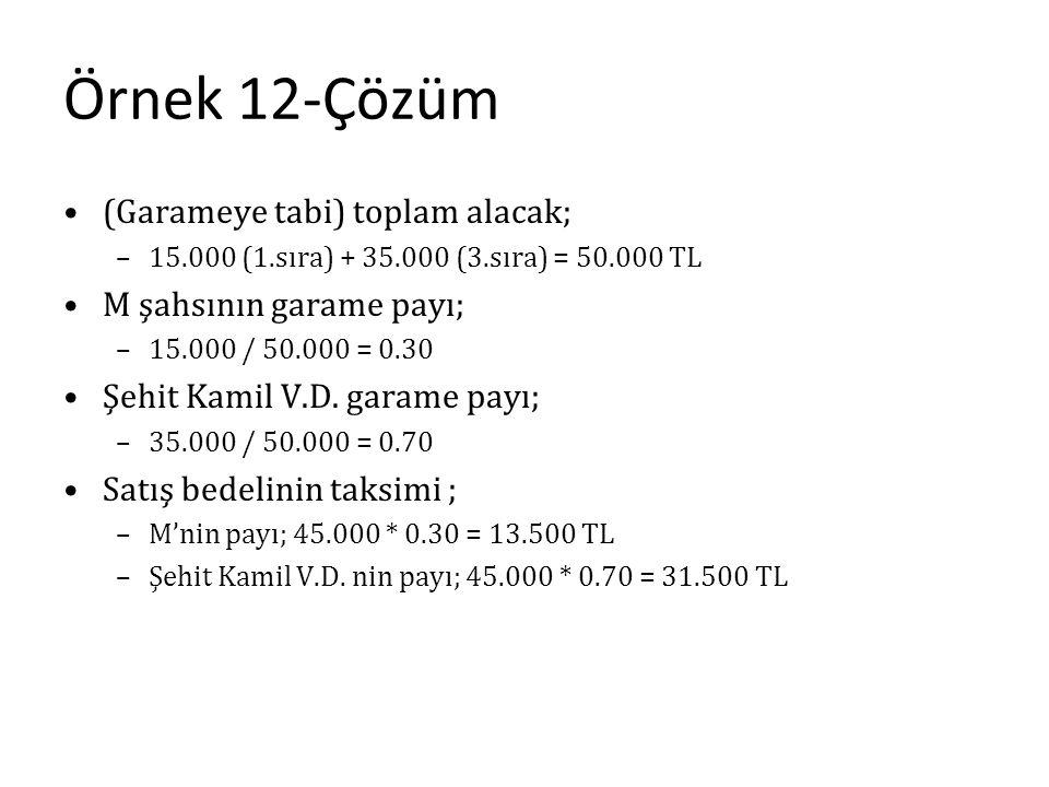 Örnek 12-Çözüm (Garameye tabi) toplam alacak; M şahsının garame payı;