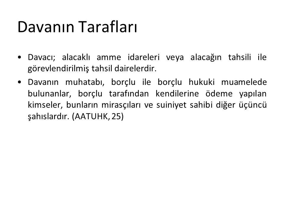Davanın Tarafları Davacı; alacaklı amme idareleri veya alacağın tahsili ile görevlendirilmiş tahsil dairelerdir.