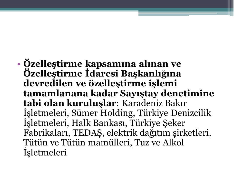 Özelleştirme kapsamına alınan ve Özelleştirme İdaresi Başkanlığına devredilen ve özelleştirme işlemi tamamlanana kadar Sayıştay denetimine tabi olan kuruluşlar: Karadeniz Bakır İşletmeleri, Sümer Holding, Türkiye Denizcilik İşletmeleri, Halk Bankası, Türkiye Şeker Fabrikaları, TEDAŞ, elektrik dağıtım şirketleri, Tütün ve Tütün mamülleri, Tuz ve Alkol İşletmeleri