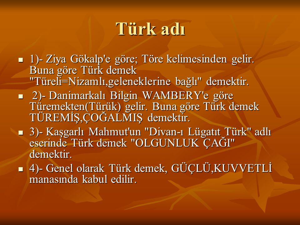 Türk adı 1)- Ziya Gökalp e göre; Töre kelimesinden gelir. Buna göre Türk demek Türeli=Nizamlı,geleneklerine bağlı demektir.