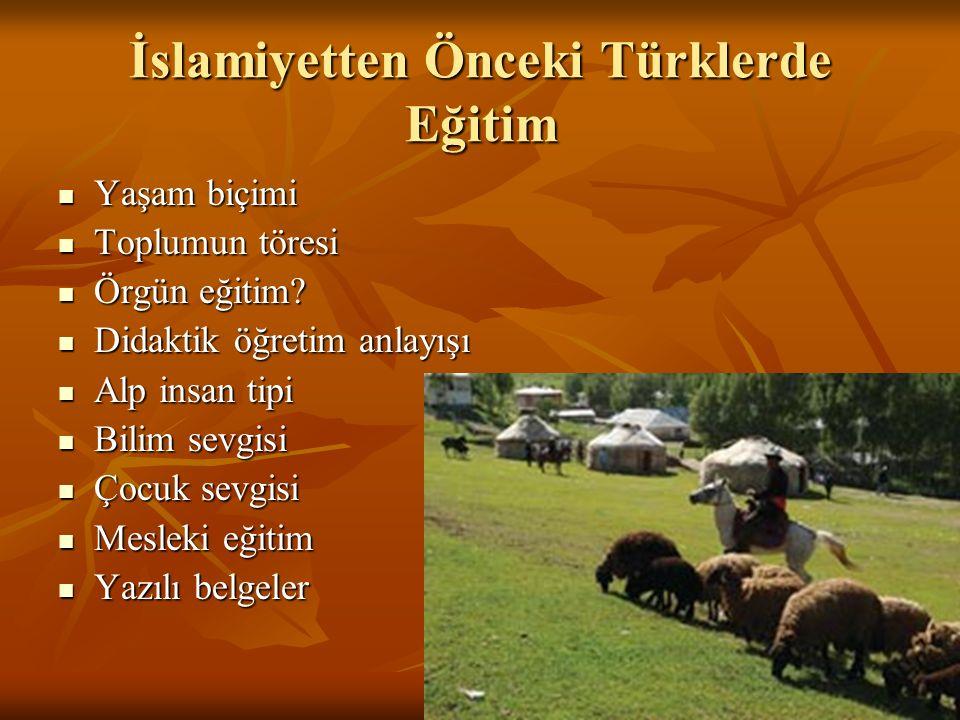 İslamiyetten Önceki Türklerde Eğitim