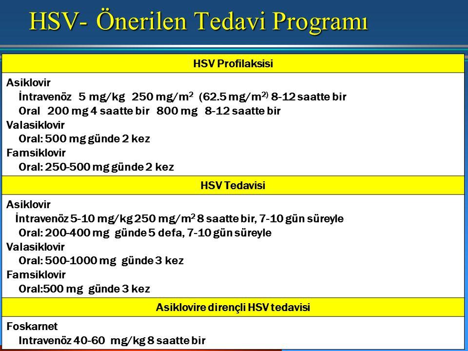 HSV- Önerilen Tedavi Programı