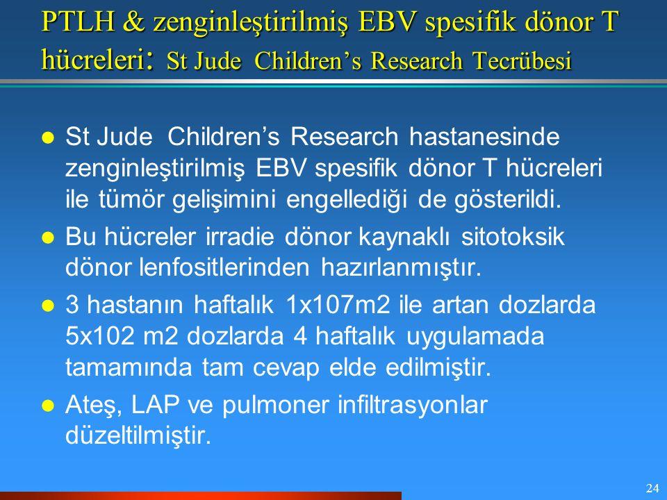 PTLH & zenginleştirilmiş EBV spesifik dönor T hücreleri: St Jude Children's Research Tecrübesi