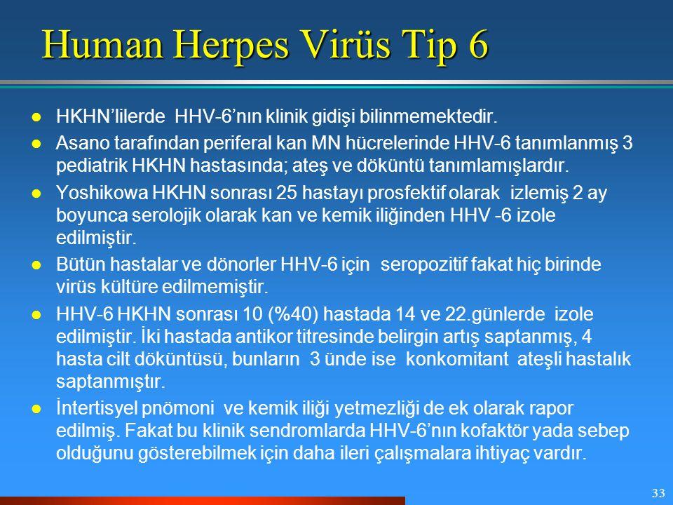 Human Herpes Virüs Tip 6 HKHN'lilerde HHV-6'nın klinik gidişi bilinmemektedir.