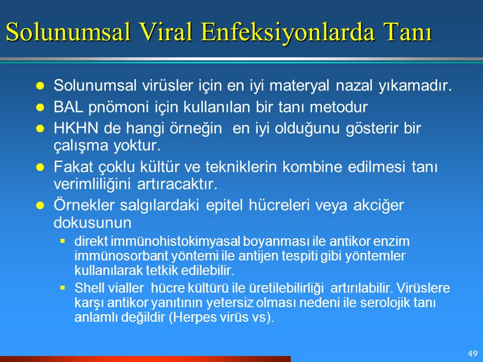 Solunumsal Viral Enfeksiyonlarda Tanı