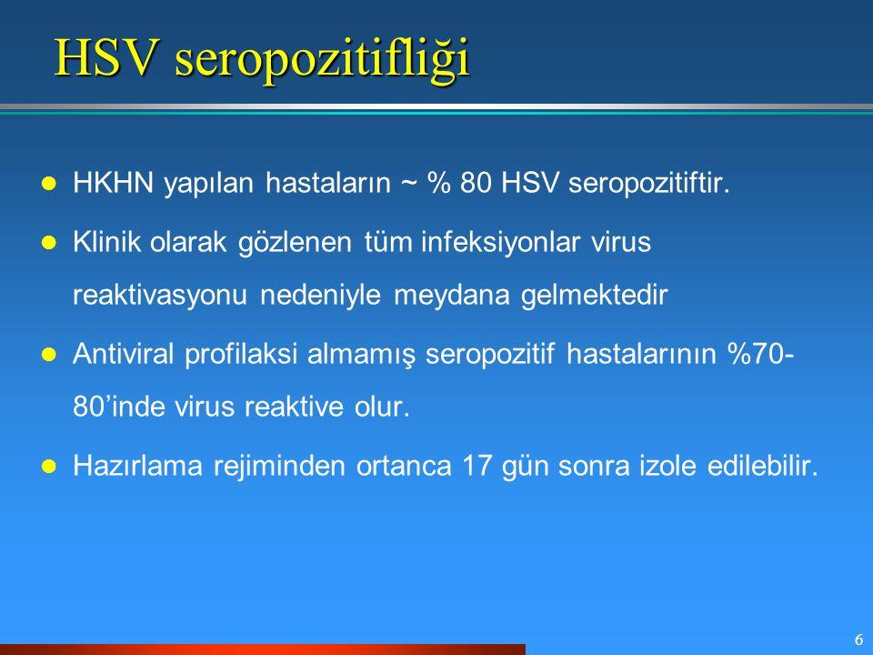 HSV seropozitifliği HKHN yapılan hastaların ~ % 80 HSV seropozitiftir.