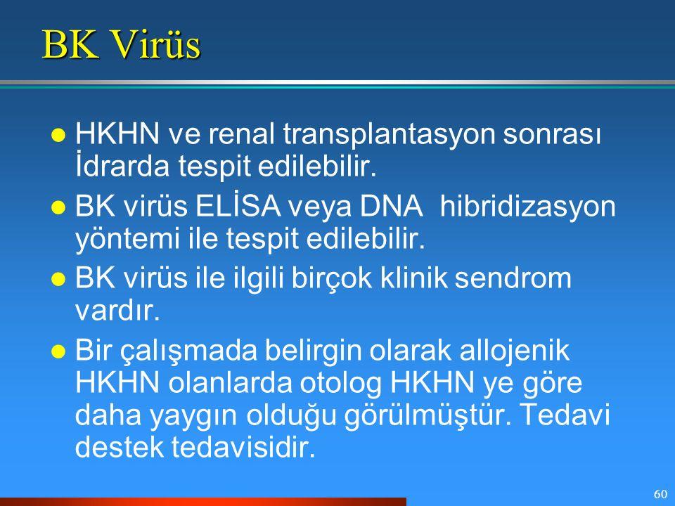 BK Virüs HKHN ve renal transplantasyon sonrası İdrarda tespit edilebilir. BK virüs ELİSA veya DNA hibridizasyon yöntemi ile tespit edilebilir.