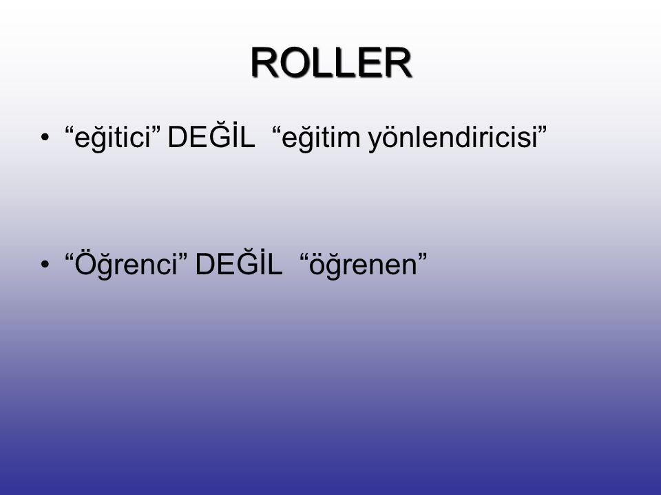 ROLLER eğitici DEĞİL eğitim yönlendiricisi