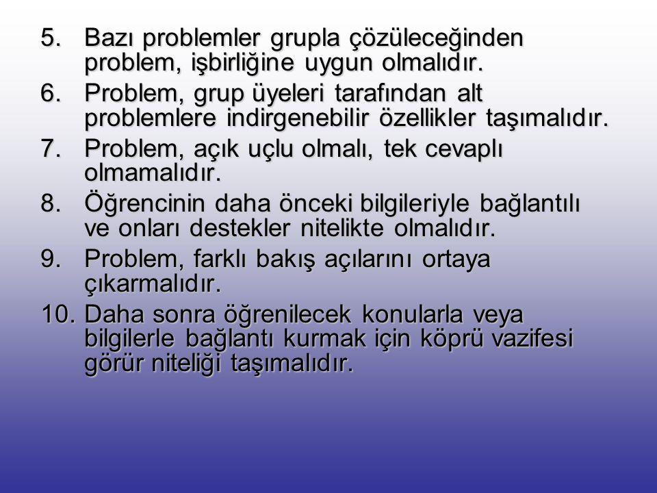 Bazı problemler grupla çözüleceğinden problem, işbirliğine uygun olmalıdır.