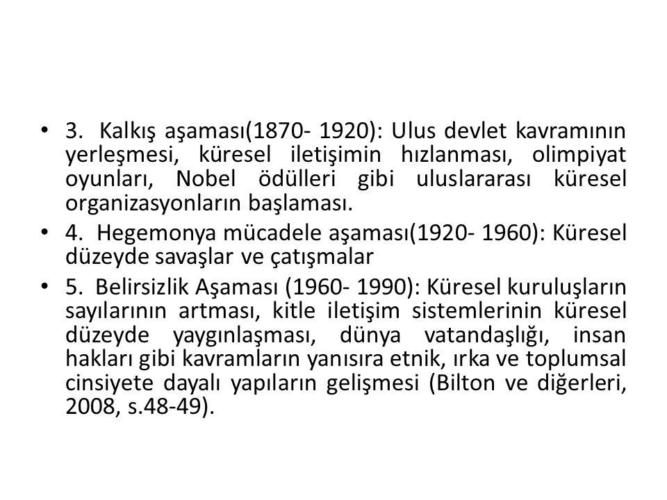 3. Kalkış aşaması(1870- 1920): Ulus devlet kavramının yerleşmesi, küresel iletişimin hızlanması, olimpiyat oyunları, Nobel ödülleri gibi uluslararası küresel organizasyonların başlaması.