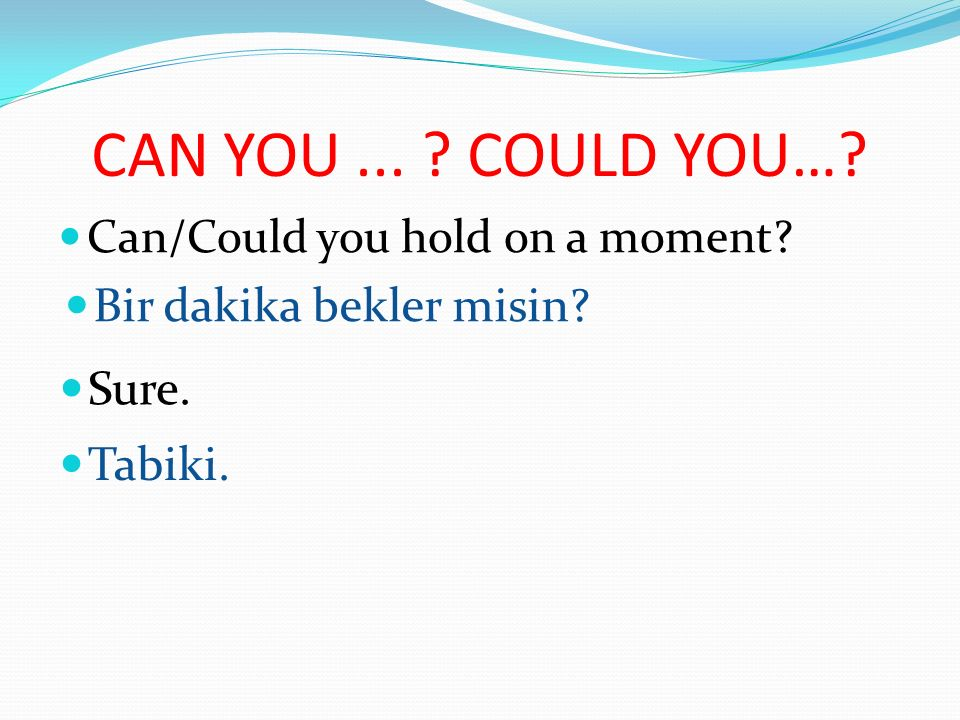 CAN YOU ... COULD YOU… Bir dakika bekler misin Sure. Tabiki.
