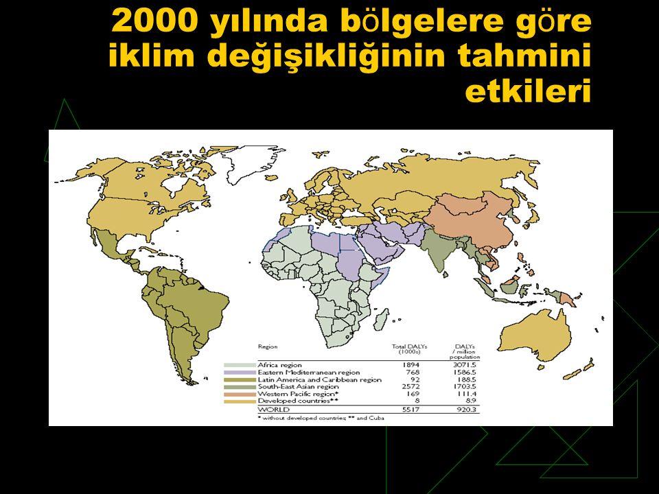 2000 yılında bölgelere göre iklim değişikliğinin tahmini etkileri