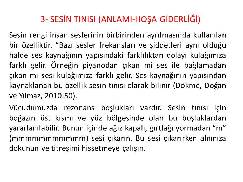 3- SESİN TINISI (ANLAMI-HOŞA GİDERLİĞİ)