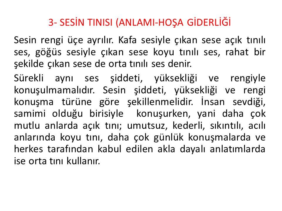3- SESİN TINISI (ANLAMI-HOŞA GİDERLİĞİ
