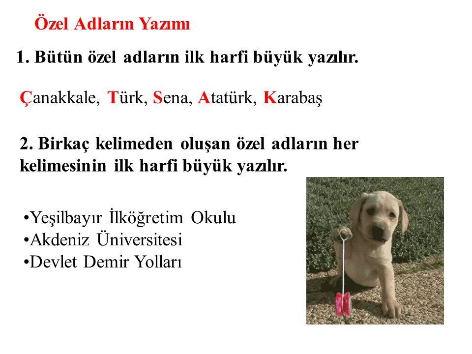 Özel Adların Yazımı 1. Bütün özel adların ilk harfi büyük yazılır. Çanakkale, Türk, Sena, Atatürk, Karabaş.