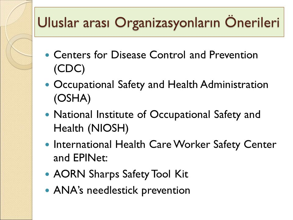 Uluslar arası Organizasyonların Önerileri