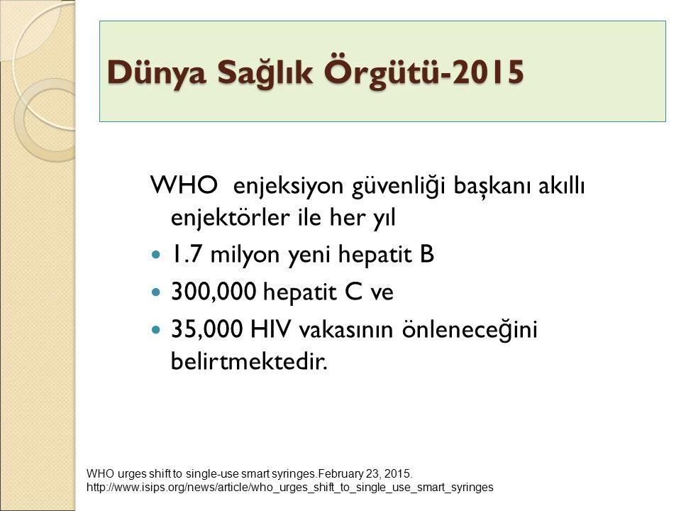 Dünya Sağlık Örgütü-2015 WHO enjeksiyon güvenliği başkanı akıllı enjektörler ile her yıl. 1.7 milyon yeni hepatit B.